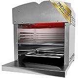 XXL Beef Maker Oberhitzegrill 800°-860° Grad Hochtemperaturgrill Gasgrill mit stufenlos regelarer Keramik/ Infrarotbrenner - 4,4KW - Steak Edelstahl Inkl. Grillrot Schlauch mit Druckminderer
